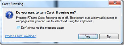 Turn on Caret Browsing