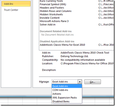 Excel 2010 Add-ins