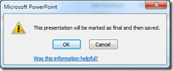 This presenation will be marked as Final and Saved