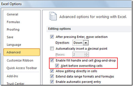 enable or disable auto fill feature in Excel 2013 and Excel 2010