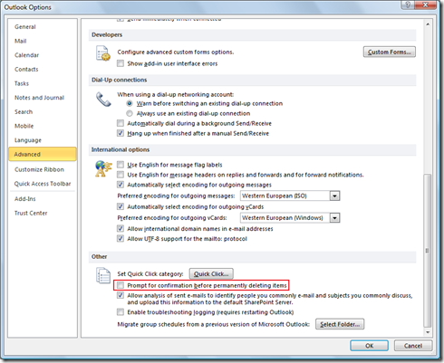 Prompt for confirmation before permanently deleting items in Outlook 2013 and Outlook 2010