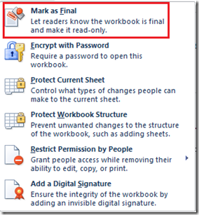 Mark workbook as final in Excel 2013 and Excel 2010