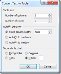 Specify columns for the table in Word 2013 and Word 2010