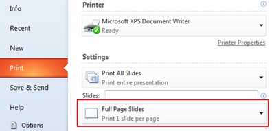 Print notes PowerPoint 2010