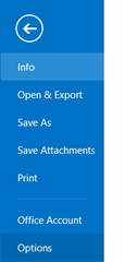 Options in Outlook 2013