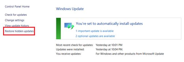 Restore hidden windows updates on Windows 8.1