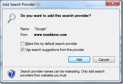 Add search provider in Internet Explorer