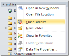 Close archive folder in Outlook 2013 and Outlook 2010