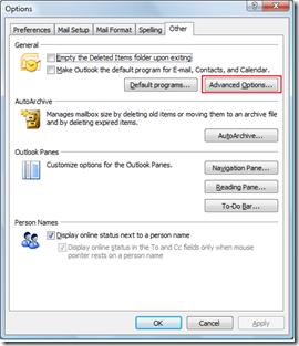 Outlook 2007 Advanced Optons