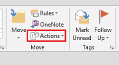 Actions Outlook 2013 Sent Message