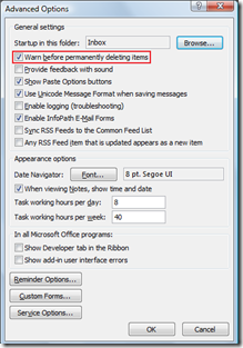 Outlook 2007 Warn before permanenly deleting items
