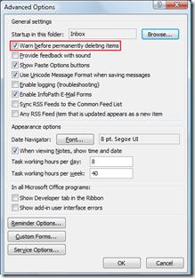 Outlook 2007 Warn before permanenly deleting items