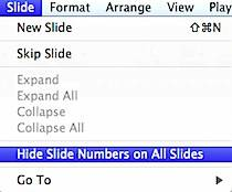 Hide Slide Number in Keynote