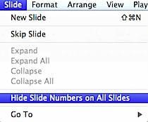 Hide Slide Number in Keynote
