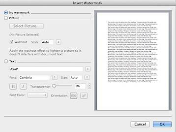 Insert Watermark Word 2011 Mac