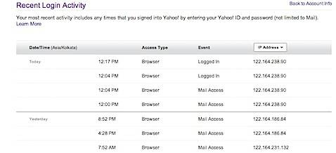 Recent Login Activity Yahoo