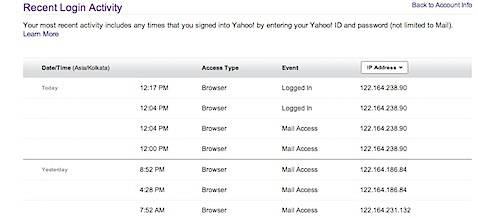 Recent Login Activity Yahoo