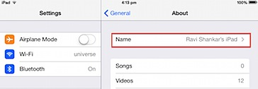 Change iPad bluetooth name