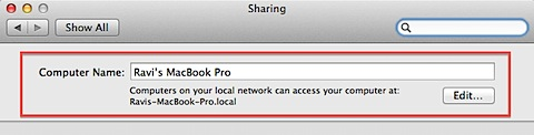 Computer name on Macbook Pro