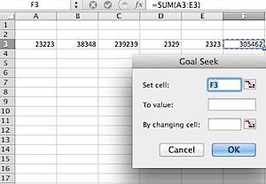 Goal Seek Screen in Excel