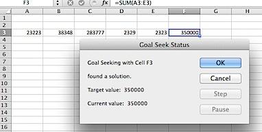Goal Seek Status screen in Excel