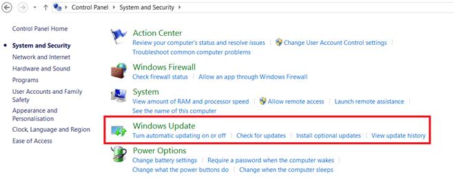 Windows Update option on Windows 8.1
