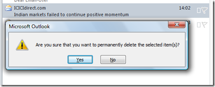 Are you sure that you want to permanently delee the selected items in Outlook