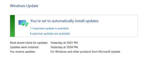 Install updates screen on Windows 8.1