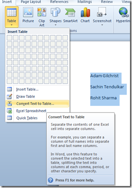 Convert text to table to Word 2010 and Word 2013