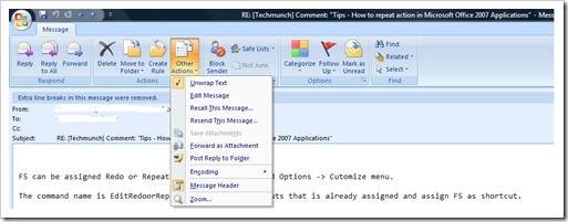 Recall this message in Outlook 2007