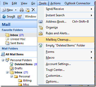 Mailbox Cleanup in Outlook 2007