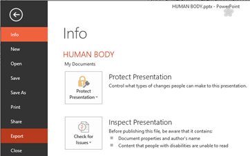 PowerPoint 2013 Export