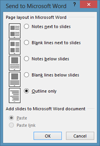Send to Microsoft Word Outline