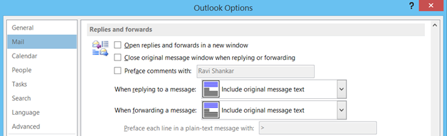 Replies and forwards option in Outlook 2013, Outlook 2010
