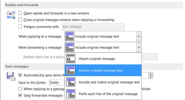 Include Original Message in Outlook 2013, Outlook 2010