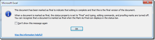 Warning message when workbook marked as final in edited