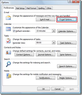 Email Options in Outlook 2007