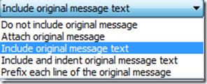 Include Original message text in Outlook