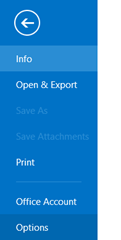 Options in Outlook 2013 and Outlook 2010