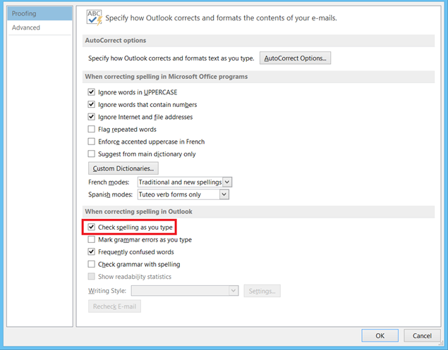 enable auto spell check in Outlook 2013 and Outlook 2010