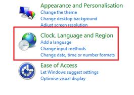 Windows 8, Clock Language and Region