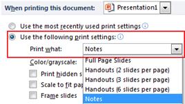 default print option in PowerPoint 2010