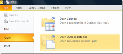 Open archive file in Outlook 2013 and Outlook 2010