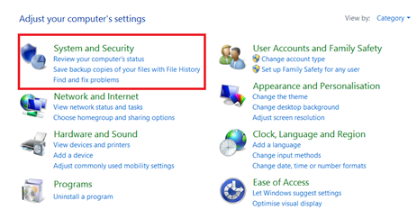 System and Securiy on Windows 8.1