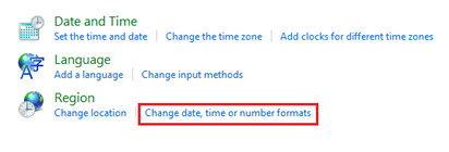 Change date, time or number formats on Windows 8