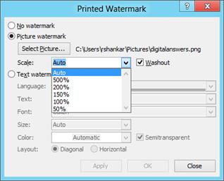 Picture Watermark in Printed Watermark window