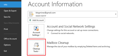 Cleanup Tools in Outlook 2013