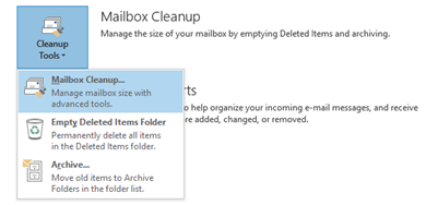Mailbox Cleanup in Outlook 2010 and Outlook 2013