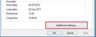 Additional Settings on Windows 8