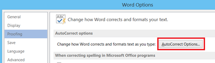 AutoCorrect Options in Word 2013